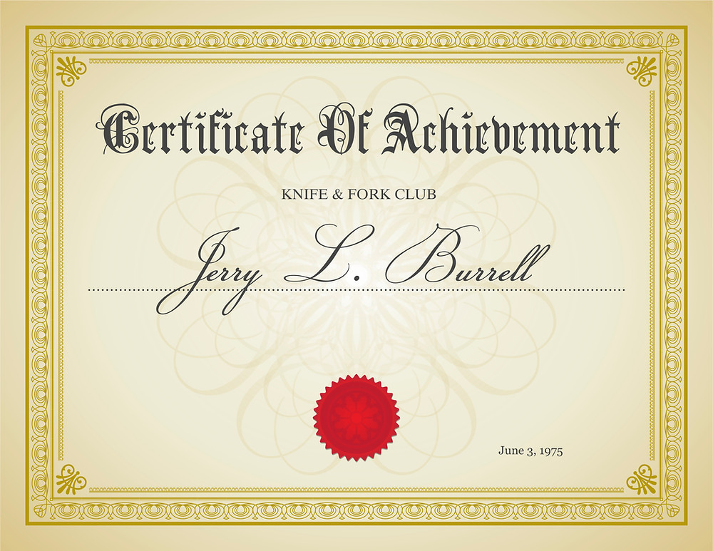 Certificate of Achievement for knife & fork club