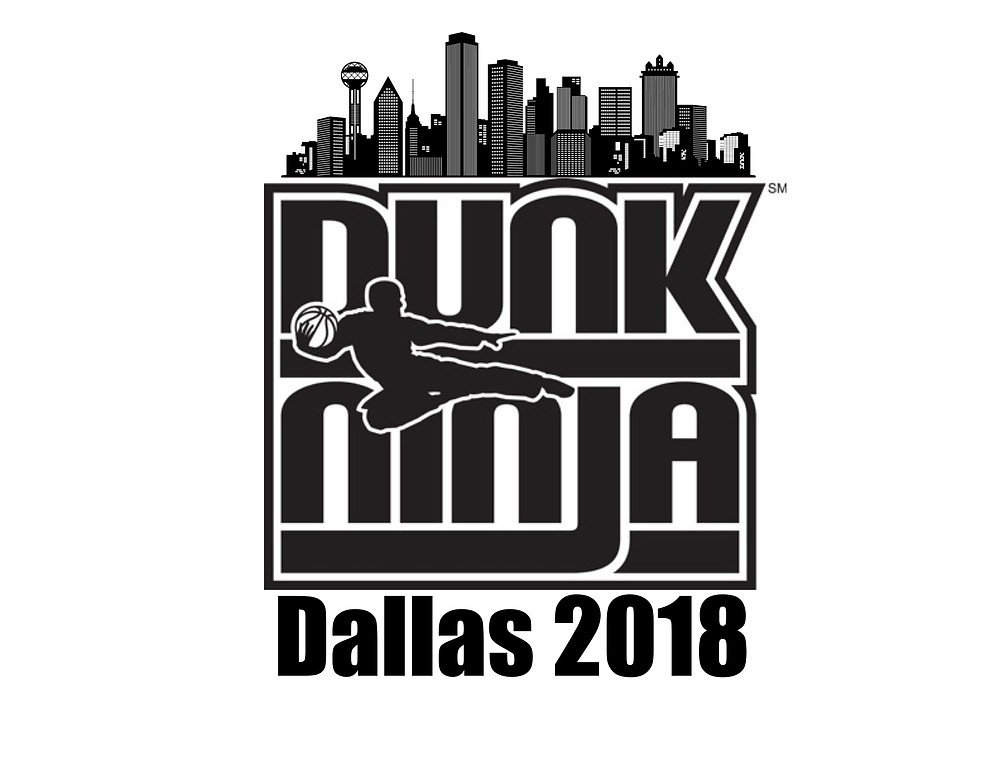logo with words dunk ninja and a silhouette of a kicking dunker with basketball
