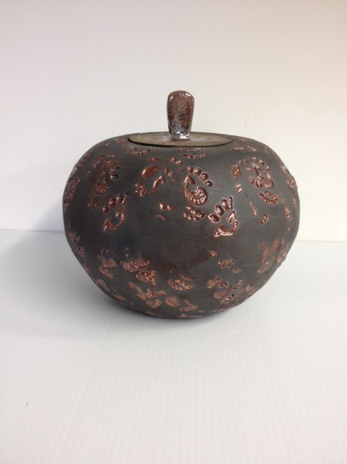 "'Copper Paisley' Vessel 8"" x8"" dia"