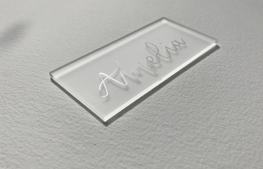 Clear & Frosted Acrylic 3mm Placename cards Place cards Place Name Cards White Classic Relaxed Modern Rustic Barn Wedding