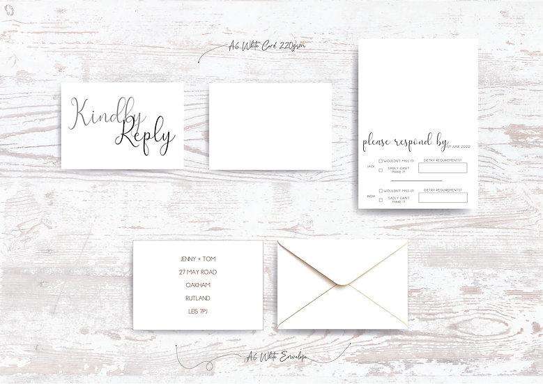 Monochrome Wedding Invitation Bundle White Satin Ribbon Minimalist Simple Classic Black and White