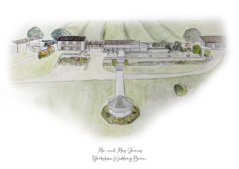 Yorkshire Wedding Barn Wedding Venue Illustration Print A3 A4