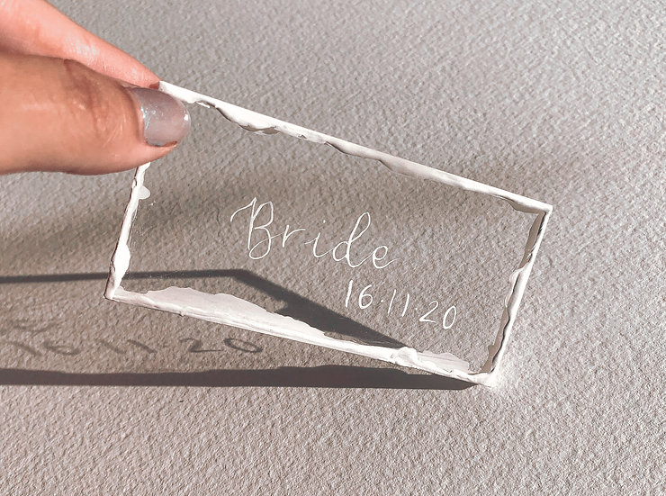 Clear & Frosted Acrylic 3mm Placename  white edge calligraphy  ink Place cards Place Name Cards White Classic Relaxed