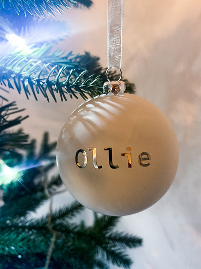 white bauble, personalised bauble, mirror bauble, engagement bauble, first house bauble, first christmas bauble