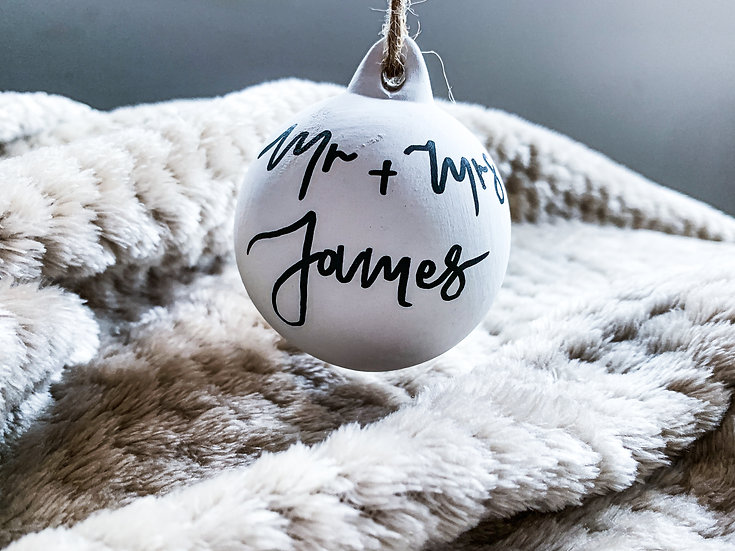 Ceramic Hand Lettered Personalised Bauble Thoughtful Gift Christmas Bauble