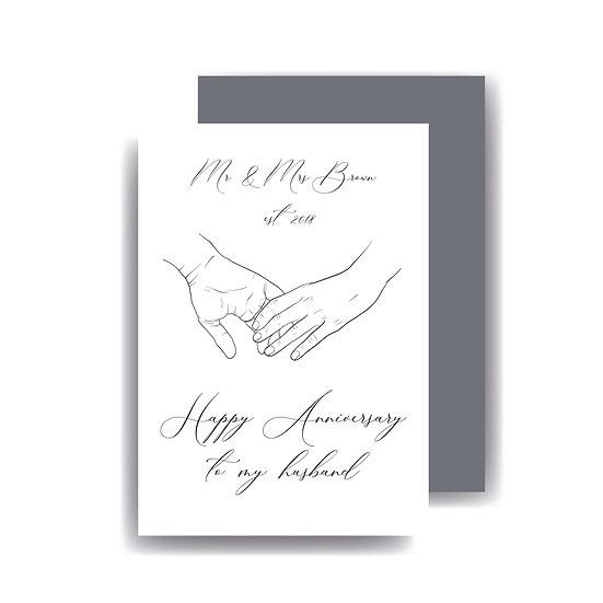 anniversary wedding anniversary 1st 2nd 5th husband wife boyfriend girlfriend personalised card
