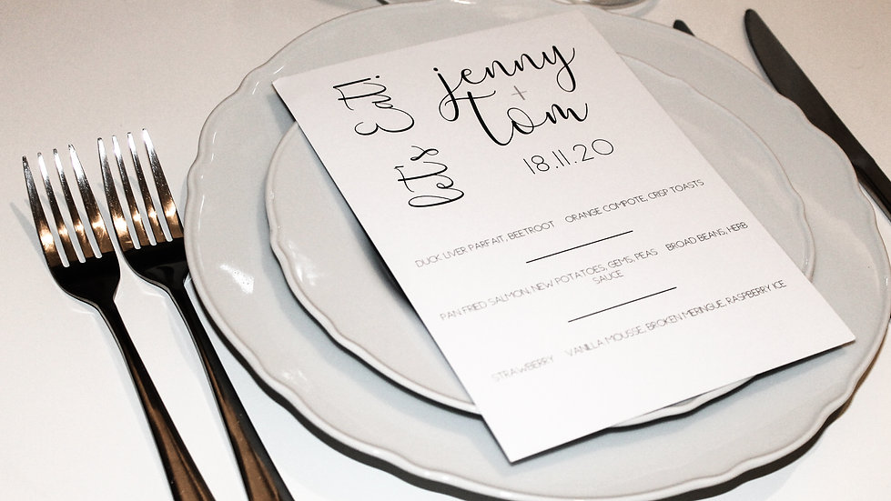 Wedding Menu with Guest Name
