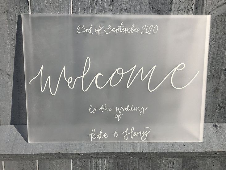 Clear & Frosted Acrylic 3mm Table Name Sign  White Classic Relaxed Welcome Quote Sign Modern Rustic Barn Wedding  Modern Luxu