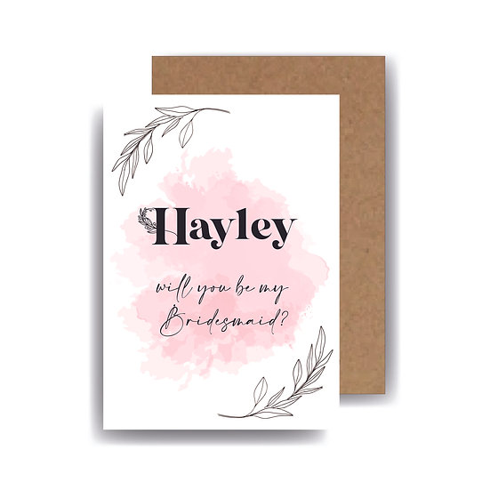 bridesmaid proposal will you be my bridesmaid maid of honour proposal  personalised best man groomsman card