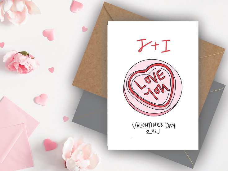 Initial Personalised Valentine's Day Card Boyfriend Valentine's Day Card Girlfriend Valentine's Day Card, Fiance Valentine's