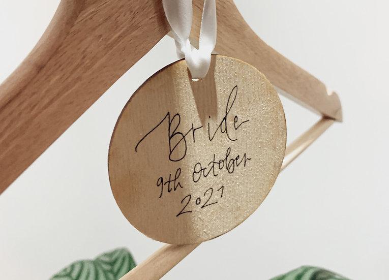 Hand Calligraphy Circular Wood Ribbon Name Tag Laser Cut Birch Ply