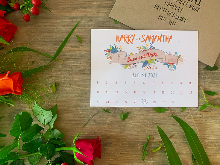 """Wedding Save the Date """"Festival Blooms"""""""