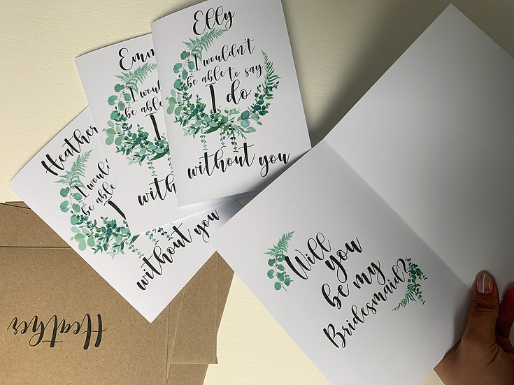 Wedding Party 'Will you be my..' Bridesmaid Card Personalised
