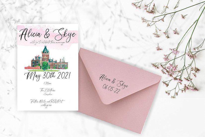 """Venue Illustration """"Rose Sea"""" Wedding Invitation"""