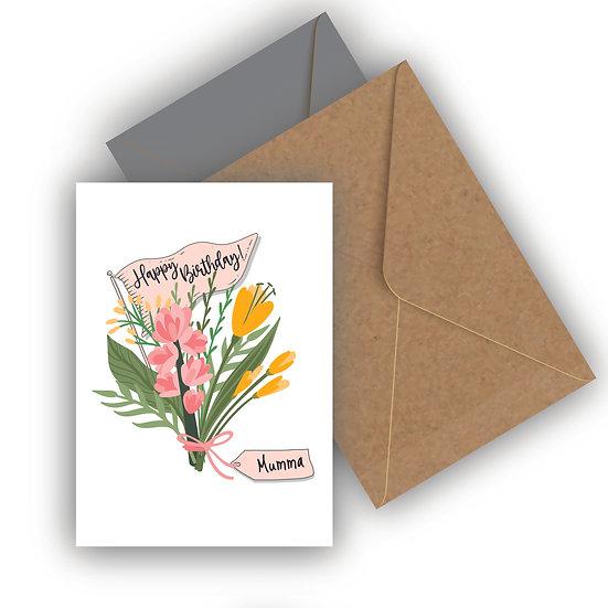 Happy Birthday Flower Bouquet Personalised Birthday Card