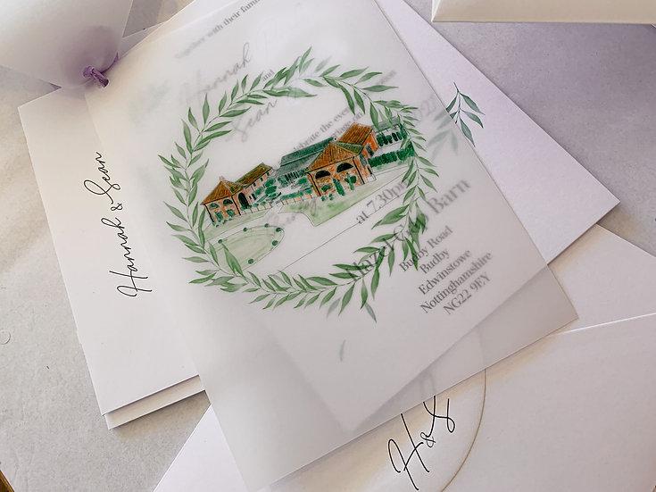 "Venue Illustration ""Wild Laurel"" Wedding Invitation"