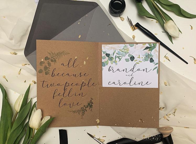 "Wedding Invitation Pocket Fold ""Flowering Eucalyptus"""