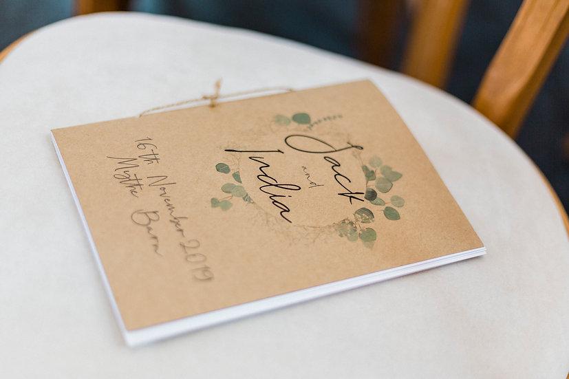 "Kraft Wedding Order of Service / Ceremony ""Flowering Eucalyptus"""