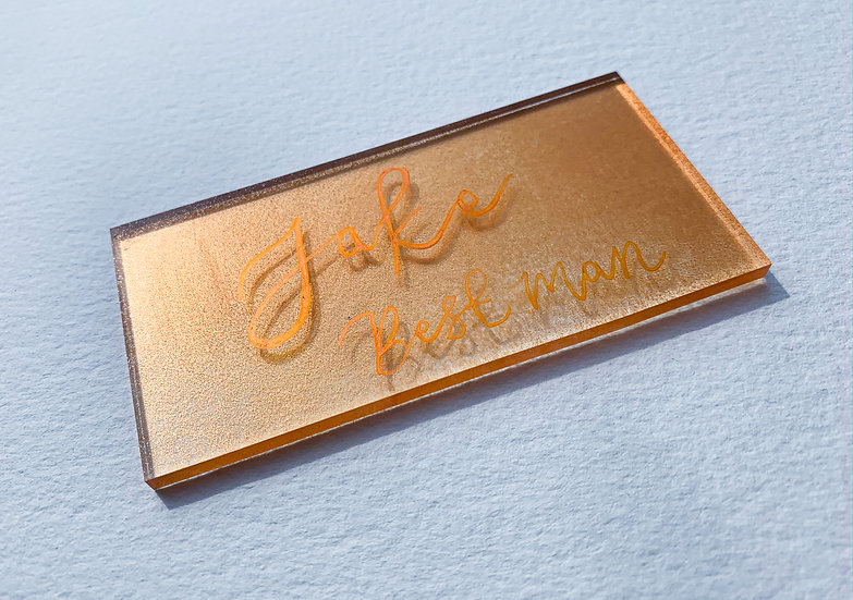Clear & Frosted Acrylic 3mm Placename  Copper metallic spray  Painte back Place cards Place Name Cards White Classic Relaxed