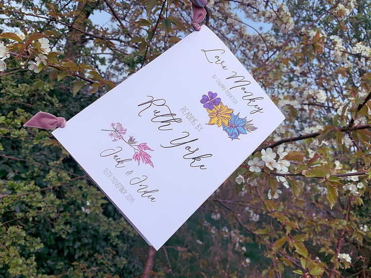Boho Floral Festival  Wedding  Service / Ceremony Reading Booklet Velvet Pink  Flowers Bright Colourful Kraft