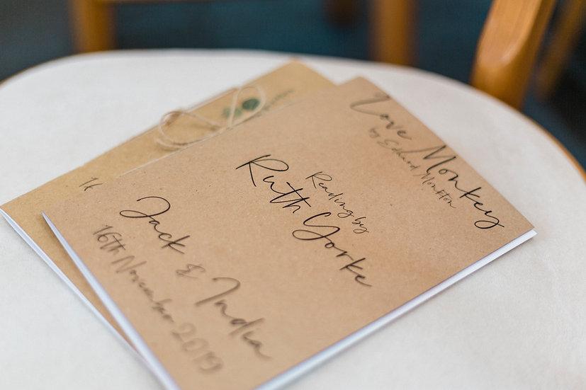 Eucalyptus Wedding Service / Ceremony Reading Booklet Foliage Green & White Classic Relaxed Kraft Rustic Barn Wedding Vellum