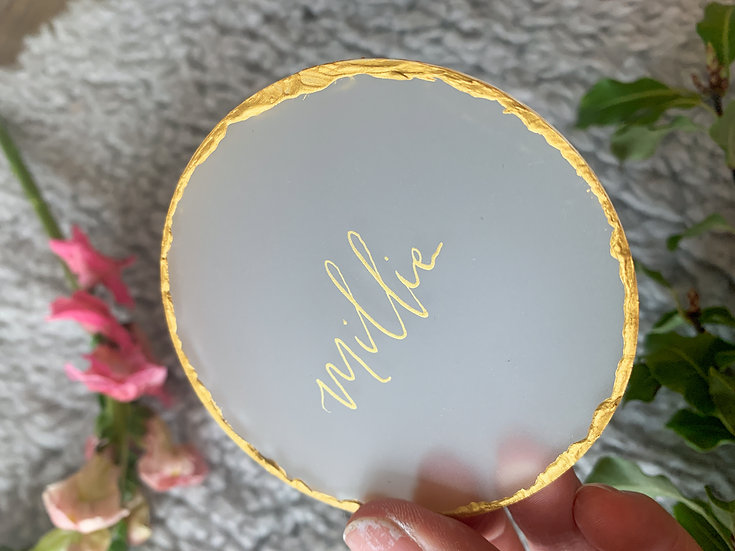 Clear & Frosted Acrylic 3mm Place name  metallic gold copper edge calligraphy  ink Place cards Place Name Cards White Classic