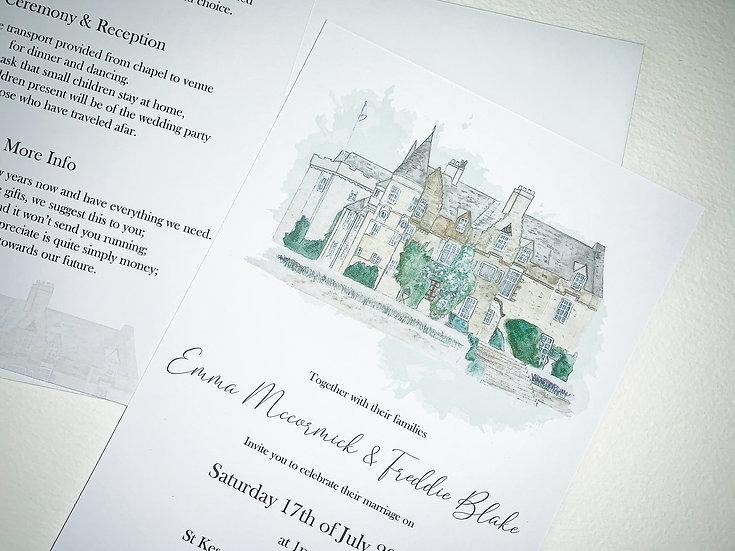 Wedding Invitation Eucalyptus Vellum White Floral Rustic Foliage Invitation Suite Kraft Luxury Invitation Venue Illustration