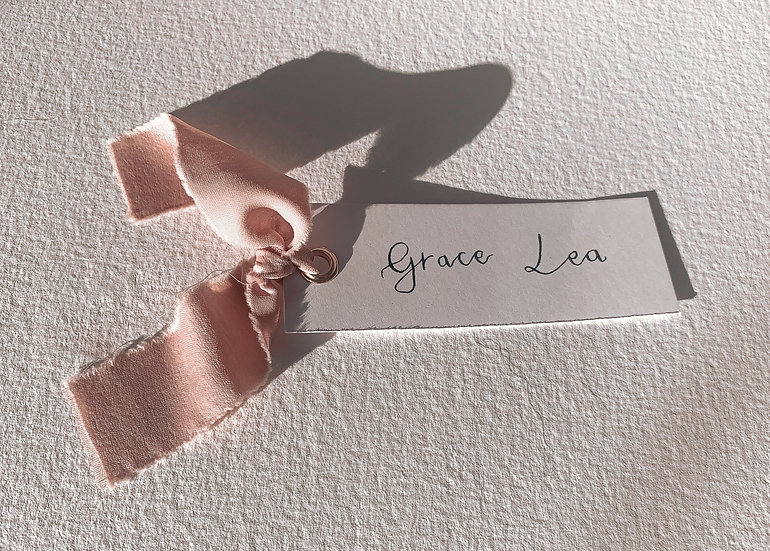 Hand Written Calligraphy Chiffon Ribbon  Place Name Card  Personalised  Place cards Place Name Cards White Classic Relaxed Mo