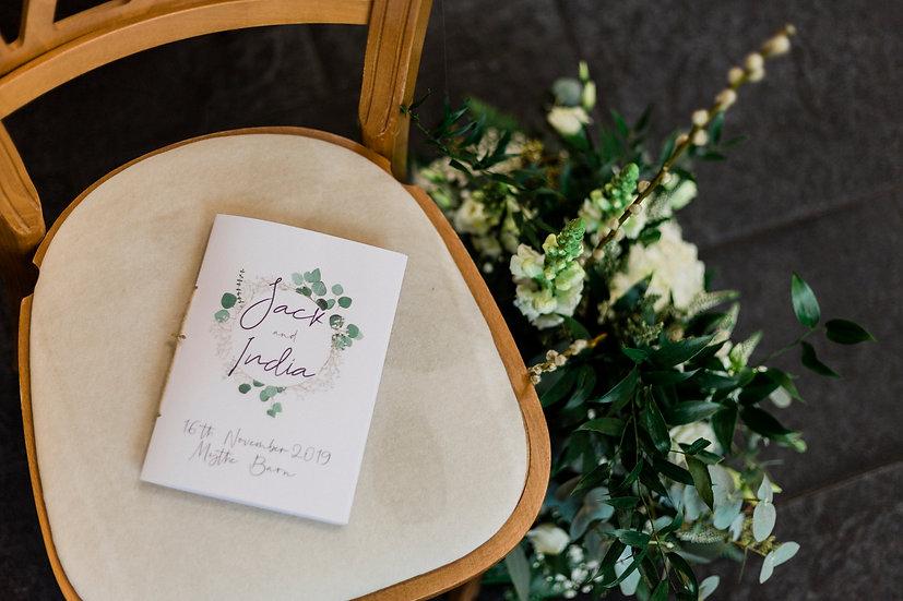 Eucalyptus Wedding Menu Card & Placename Foliage Green & White Classic Relaxed Kraft Rustic Barn Wedding Vellum Modern Luxury