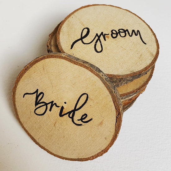 Hand Calligraphy Place Name Favour Wooden Slice Personalised