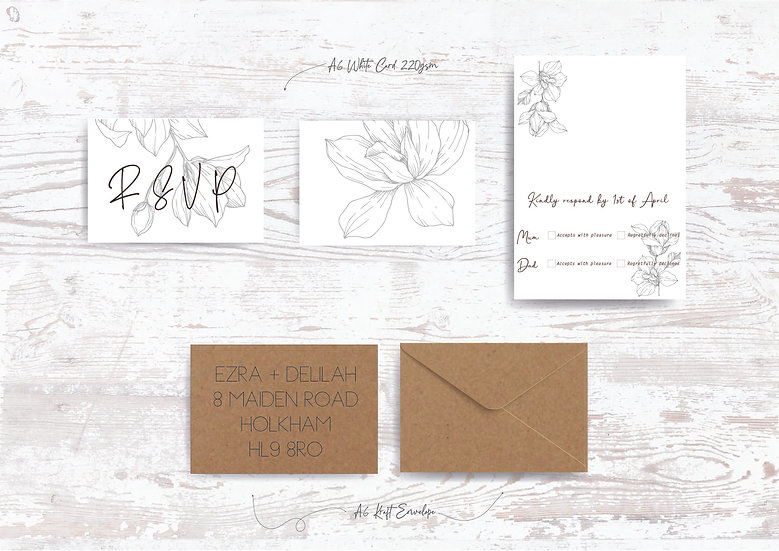 Rustic Woodland Wedding Invitation Bundle Kraft  Grey Envelope Paper Floral Acetate