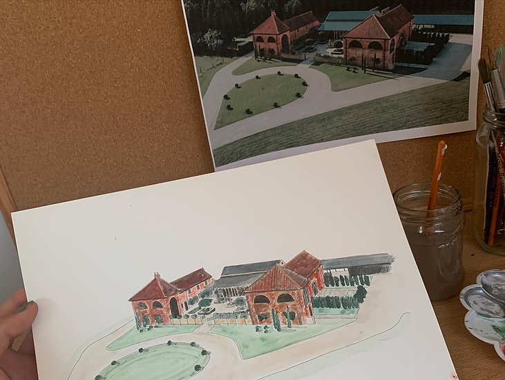 Wedding Venue Illustration Print A3 A4