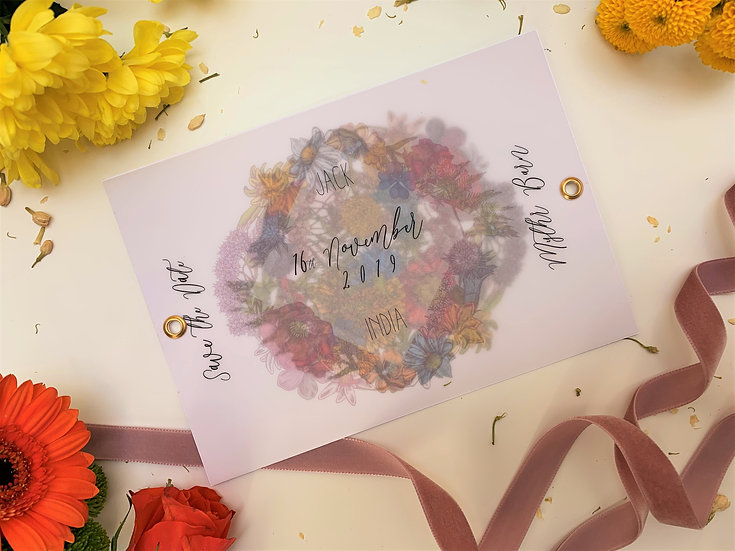 Boho Floral Festival  Wedding Save the Date  Pink Vellum  Eyelet Flowers Bright Colourful Kraft