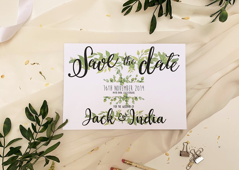 Eucalyptus Wedding Save the Date Foliage Green & White Classic Relaxed Kraft Rustic Barn Wedding Modern Luxury