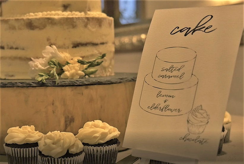 Wedding Cake Flavour Sign Card &  Foliage Green & White Classic Relaxed Kraft Rustic Barn Wedding  Modern Luxury