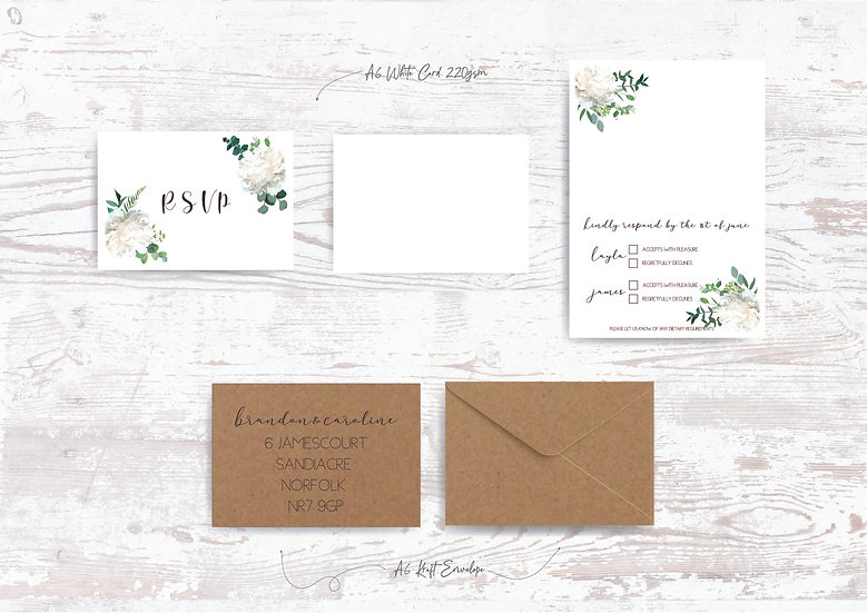 Eucalyptus Wedding Invitation Bundle Foliage Green & White Classic Relaxed Kraft Rustic Barn Wedding Pocket Fold Modern