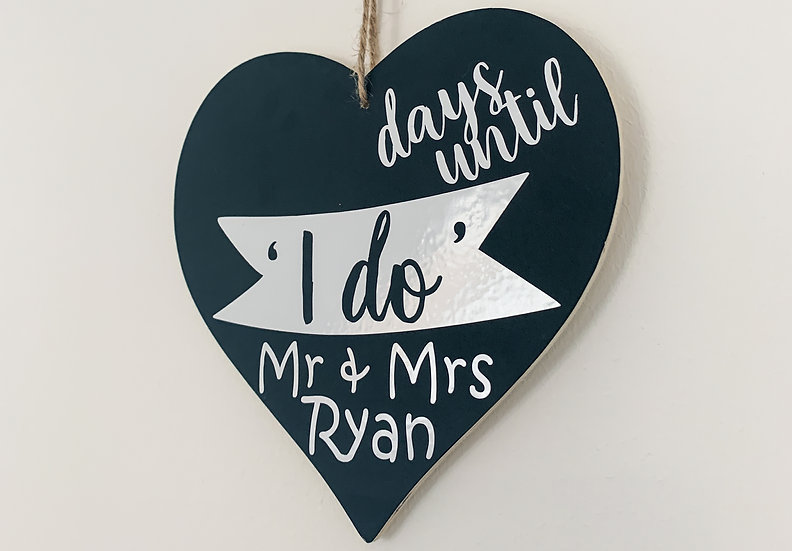 Personalised Wedding Countdown Hanging Chalkboard