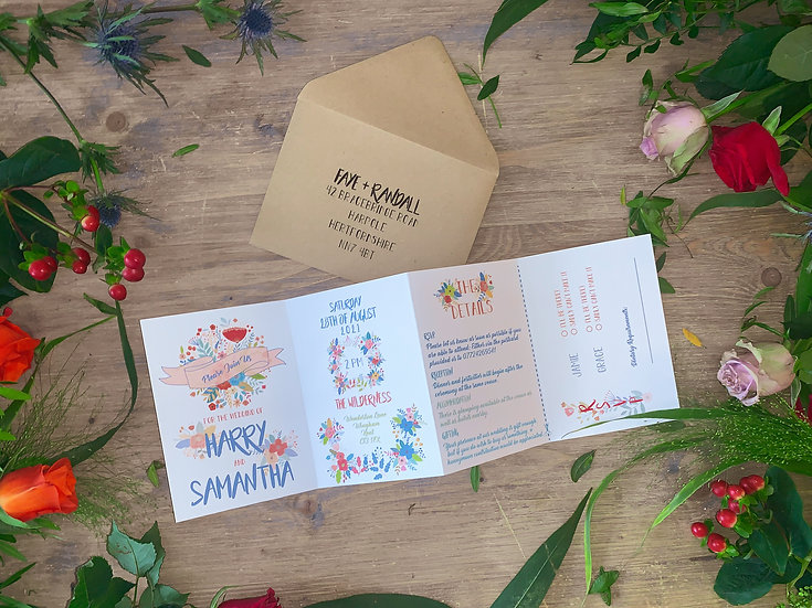 "Wedding Invitation ""Festival Blooms"""
