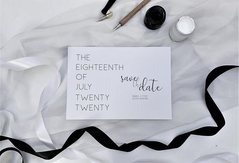 Monochrome Wedding Save the Date Minimalist Simple Classic Black and White addressed personalised monogram
