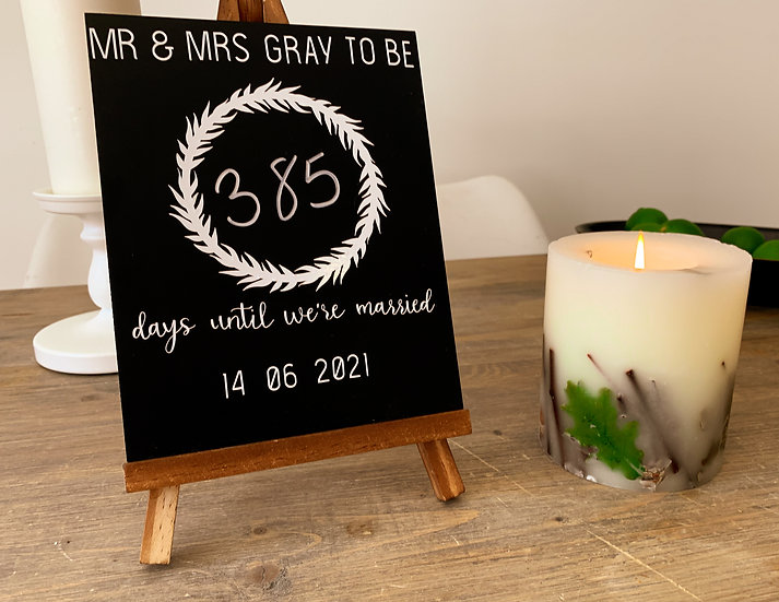 personalised wedding sign, personalised wedding countdown, wedding countdown sign, wedding countdown