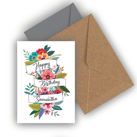Happy Birthday Floral Banner Personalised Birthday Card
