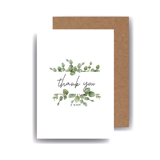 Eucalyptus Personalised wedding husband/wife Thank You Cards Foliage Green & White Classic Relaxed Kraft Rustic Barn Wedding