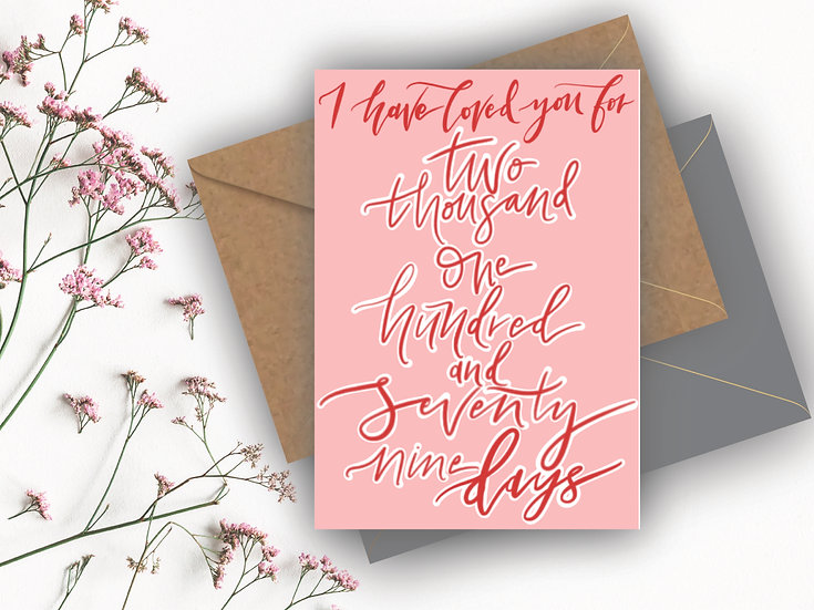 Anniversary Date Personalised Valentine's Day Card Boyfriend Valentines Day Card Girlfriend Valentines Day Card, Fiance Valen