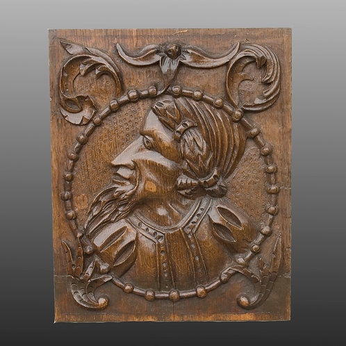 16th Century Carved Oak Romayne Portrait Panel - £1150