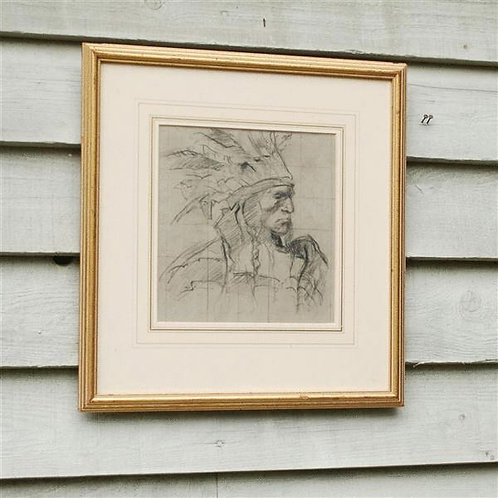 20th Century Charcoal and Sanguine Portrait of an Indian Chieftain - £1850