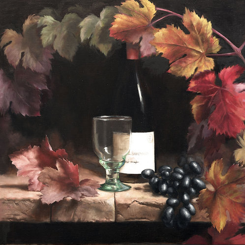 Grapes and Red Wine - Marilyn Bailey Oil on linen 2016 - £3850