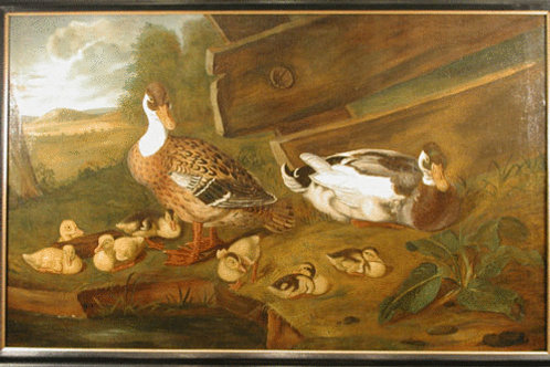 18th Century Continental Oil Painting on Canvas of Ducks - £9800