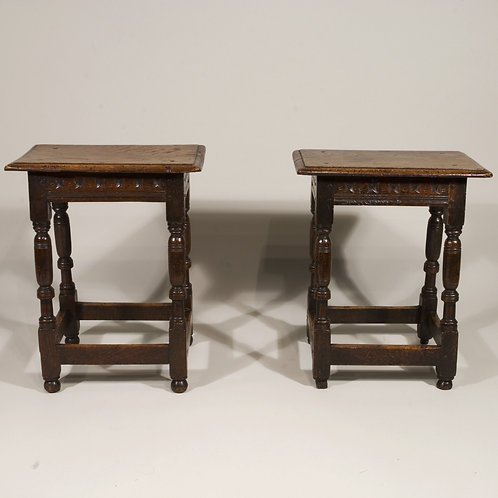 A Fine Pair of Mid 17th Century Oak Joint Stools - £7800