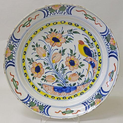 18th Century Polychrome Delft Bird Plate £695