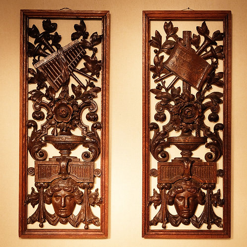 A Pair of Late 19th Century Carved and Pierced Musical Panels - £1850